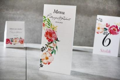 Menu weselne, ślub, stół weselny - Pistacjowe nr 3 - Kwiaty w odcieniach różu i łososia