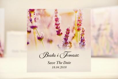Bilecik Save The Date do zaproszenia ślubnego - Elegant nr 28 - Lawenda