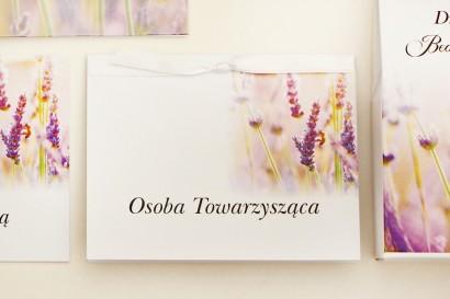 Winietki na stół weselny, ślub - Elegant nr 28 - Pole lawendy - kwiatowe dodatki ślubne