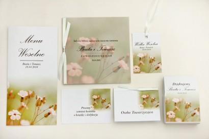 Zaproszenie ślubne z dodatkami - Elegant nr 29 - Polne kwiaty- Eleganckie kwiatowe z kalką