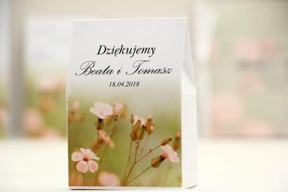 Pudełeczko stojące na cukierki, podziękowania dla Gości weselnych - Elegant nr 29 - Polne kwiaty - Kwiatowe dodatki ślubne