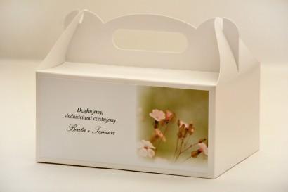 Prostokątne pudełko na ciasto, tort weselny, ślub - Elegant nr 29 - Polne kwiaty - kwiatowe dodatki ślubne