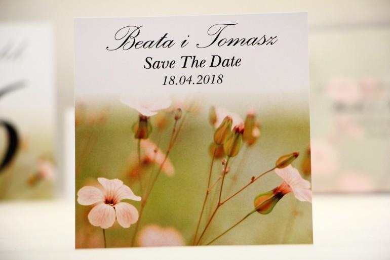 Bilecik Save The Date do zaproszenia ślubnego - Elegant nr 29 - Polne kwiaty