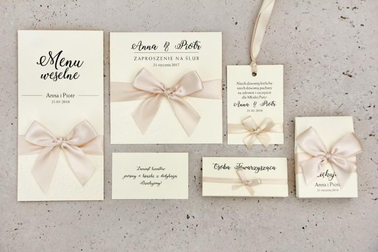 Zestaw próbny zaproszeń ślubnych wraz z dodatkami i upominkami dla gości ślubnych, weselnych - Belisa nr 5