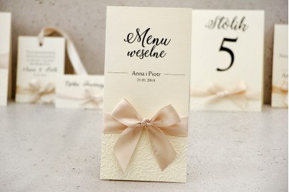 Menu weselne, stół weselny - Belisa nr 5 - Kremowe ecru - dodatki ślubne z tłoczeniem