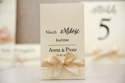 Podziękowania dla Gości weselnych - nasiona Niezapominajki - Belisa nr 5 - Kremowe ecru - dodatki ślubne
