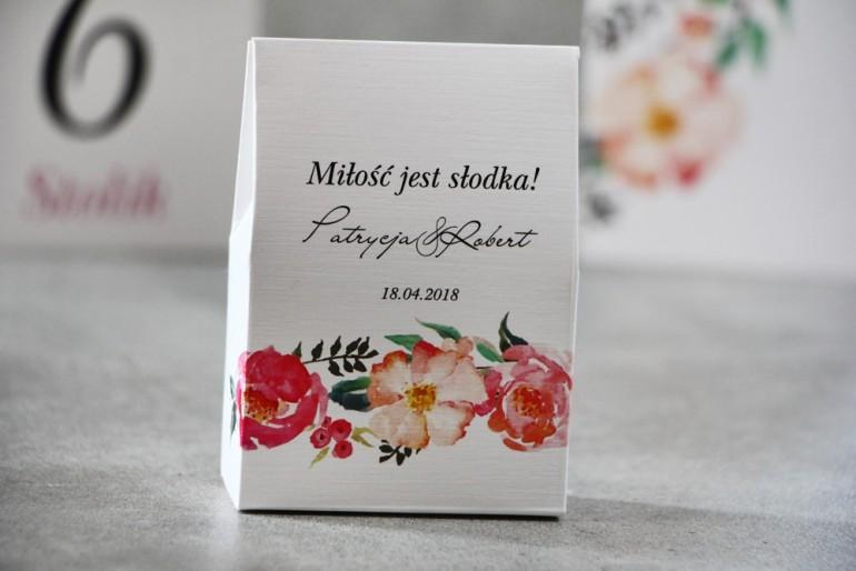 Pudełeczko stojące na cukierki, podziękowania dla Gości weselnych - Pistacjowe nr 3 - Kwiaty w barwach różu i łososiowym
