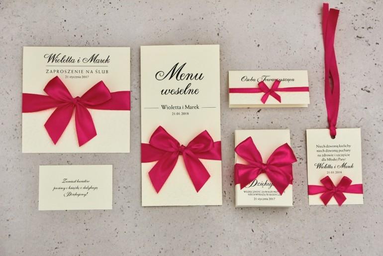 Zestaw próbny zaproszeń ślubnych wraz z dodatkami i upominkami dla gości ślubnych, weselnych - Belisa nr 7
