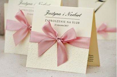 Zaproszenie ślubne z kokardką tłoczeniem - Belisa nr 3 - Pudrowy róż