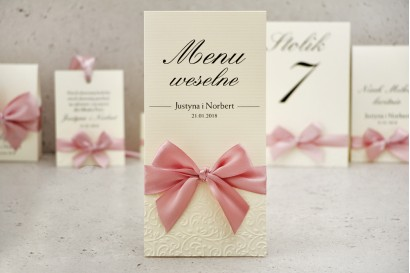 Menu weselne, stół weselny - Belisa nr 3 - Pudrowy róż - dodatki ślubne z tłoczeniem