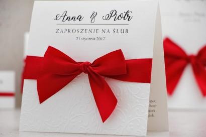 Zaproszenie ślubne z kokardką tłoczeniem - Belisa nr 2 - Klasyczna czerwień