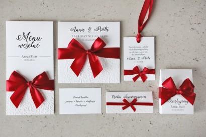 Zaproszenie ślubne z dodatkami - Belisa nr 2 - klasyczna czerwień- Z elegancką kokardą i tłoczeniem