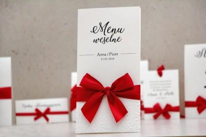 Menu weselne, stół weselny - Belisa nr 2 - Klasyczna czerwień - dodatki ślubne z tłoczeniem