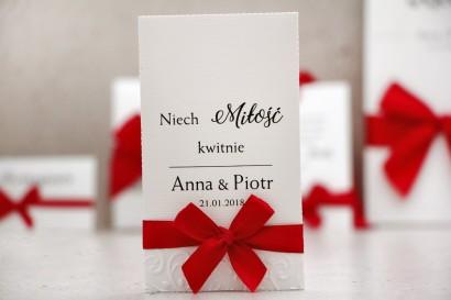 Podziękowania dla Gości weselnych - nasiona Niezapominajki - Belisa nr 2 - Czerwona kokardka, dodatki ślubne