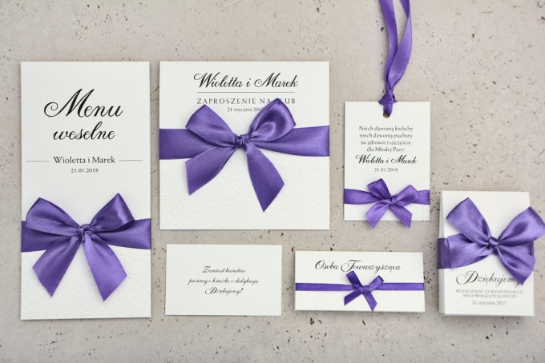 Zestaw próbny zaproszeń ślubnych wraz z dodatkami i upominkami dla gości ślubnych, weselnych - Belisa nr 4