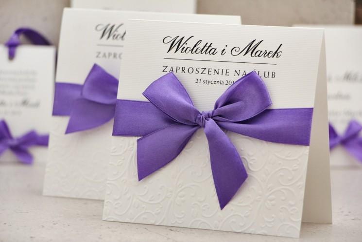 Zaproszenie ślubne z kokardką tłoczeniem - Belisa nr 4 - Intensywny fiolet