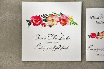 Bilecik Save The Date do zaproszenia - Pistacjowe nr 3 - Kwiaty w barwach różu i łososiowym