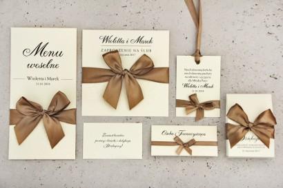 Zestaw próbny zaproszeń ślubnych wraz z dodatkami i upominkami dla gości ślubnych, weselnych - Belisa nr 1