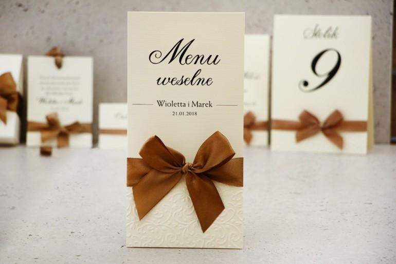 Menu weselne, stół weselny - Belisa nr 1 - Brązowe - dodatki ślubne z tłoczeniem