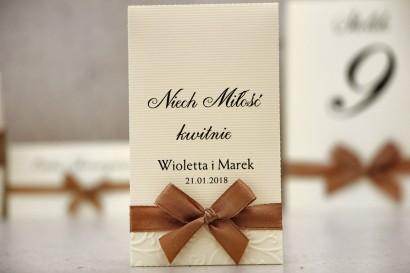Podziękowania dla Gości weselnych - nasiona Niezapominajki - Belisa nr 7 - Brązowa kokarda, dodatki ślubne