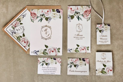 Zestaw próbny zaproszeń ślubnych ze złoceniem wraz z dodatkami i upominkami dla gości ślubnych, weselnych