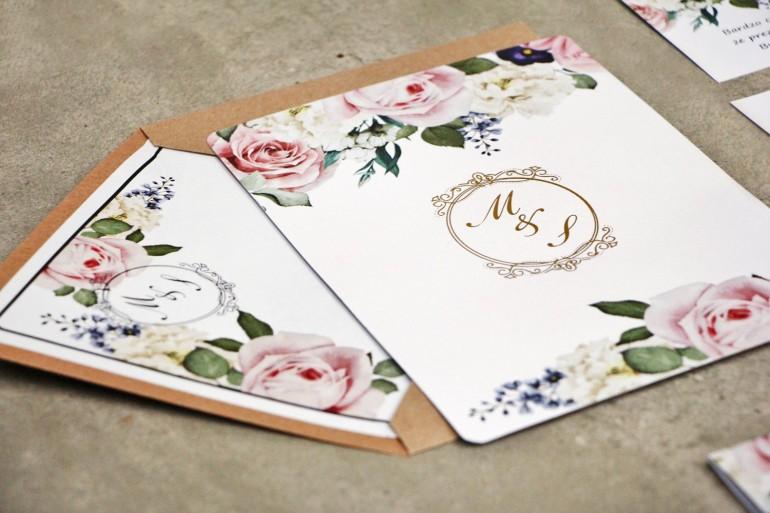 Zaproszenie ślubne, zaproszenia na ślub eleganckie ze złoceniem - Sorento nr 1 - Pudrowe kwiaty