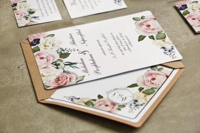 Zaproszenie ślubne, zaproszenia na ślub eleganckie ze złoceniem i kopertą ekologiczną - Sorento nr 1 - Pudrowe kwiaty