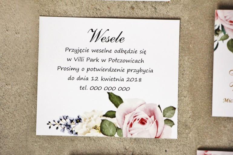 Bilecik do zaproszenia 120 x 98 mm prezenty ślubne wesele - Sorento nr 1 - Pastelowe delikatne kwiaty