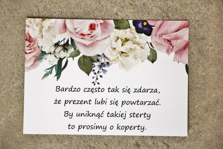 Bilecik do zaproszenia 105 x 74 mm prezenty ślubne wesele - Sorento nr 1 - Pastelowe delikatne kwiaty