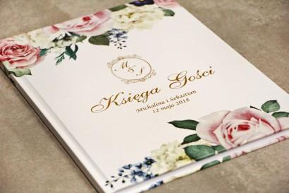 Księga Gości, dodatki ślubne ze złoceniem, wesele - Sorento nr 1 - Pudrowe kwiaty