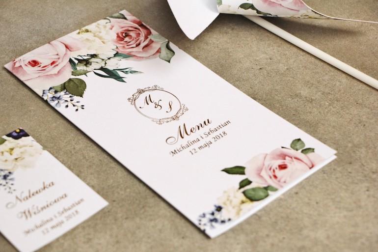 Menu weselne, stół weselny - Sorento nr 1 - Pudrowe kwiaty - Eleganckie kwiatowe wzory - dodatki ślubne ze złoceniem