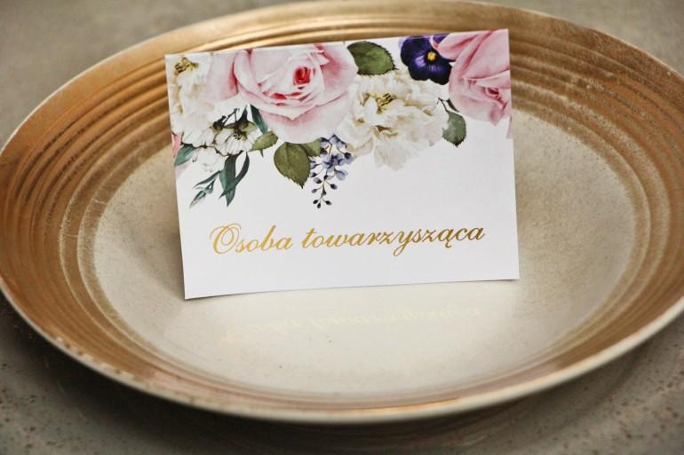 Winietki na stół weselny, ślub - Sorento nr 1 - Pudrowe kwiaty - dodatki ślubne ze złoceniem