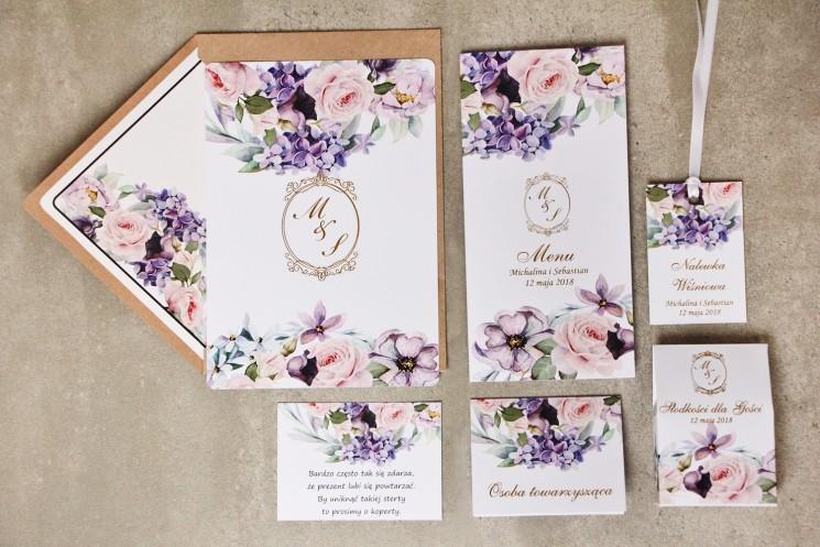 Zaproszenie ślubne z dodatkami - Sorento nr 2 - Pastelowe fiolety - Eleganckie kwiatowe ze złoceniem