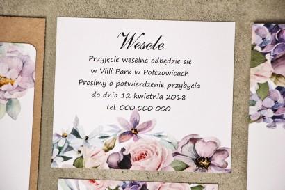 Bilecik do zaproszenia 120 x 98 mm prezenty ślubne wesele - Sorento nr 2 - Jasnofioletowe subtelne kwiaty