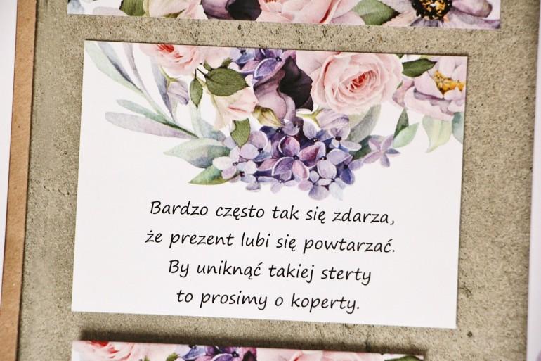 Bilecik do zaproszenia 105 x 74 mm prezenty ślubne wesele - Sorento nr 2 - Subtelne fioletowe i pudrowe kwiaty