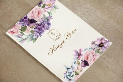 Księga Gości, dodatki ślubne, weselne - Sorento nr 2 - Liliowe kwiaty - ze złoceniem