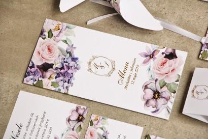 Menu weselne, stół weselny - Sorento nr 2 - Liliowe kwiaty - Eleganckie kwiatowe wzory - dodatki ślubne ze złoceniem