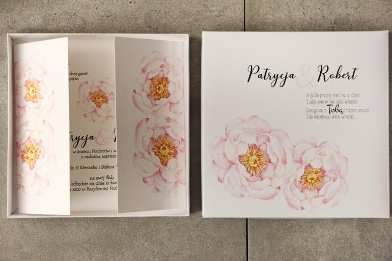 Efektowne Zaproszenie ślubne w pudełku - Pistacjowe nr 4 - Delikatne pudrowe piwonie