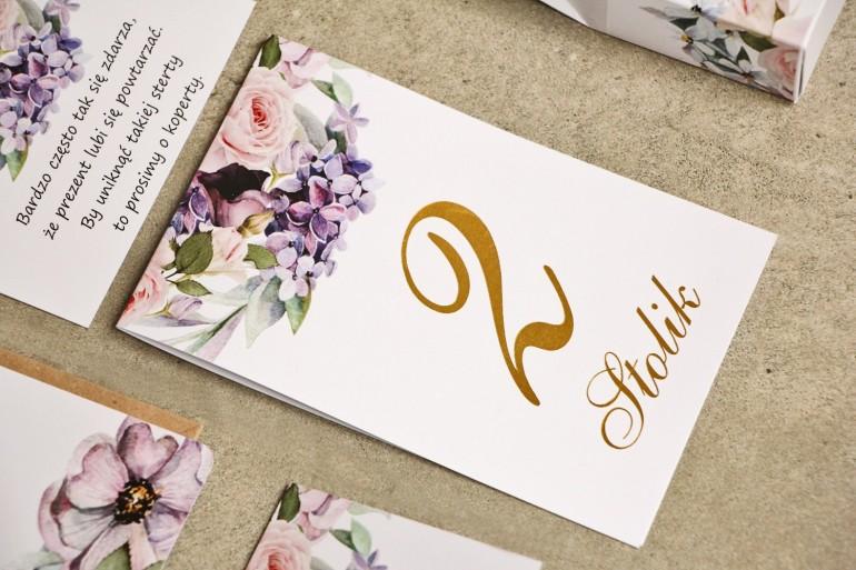 Numery stolików, stół weselny, ślub - Sorento nr 2 - Subtelny fiolet ze złoceniem - dodatki ślubne