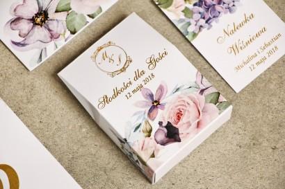 Pudełeczko stojące na cukierki, podziękowania dla Gości weselnych -Sorento nr 2 - dodatki ślubne ze złoceniem - Pastelowy fiolet