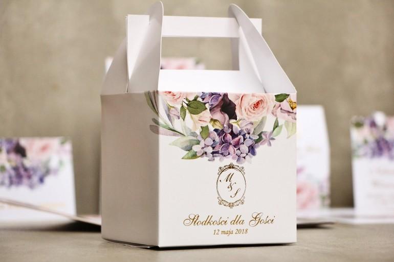 Pudełko na ciasto kwadratowe, tort weselny -Sorento nr 2 - Liliowe kwiaty - kwiatowe dodatki ślubne ze złoceniem