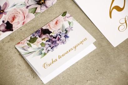 Winietki na stół weselny, ślub - Sorento nr 2 - Fioletowe pastelowe kwiaty - dodatki ślubne ze złoceniem