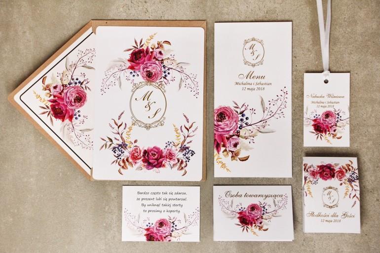 Zestaw próbny zaproszeń ślubnych ze złoceniem wraz z dodatkami i upominkami dla gości ślubnych, weselnych Sorento nr 3
