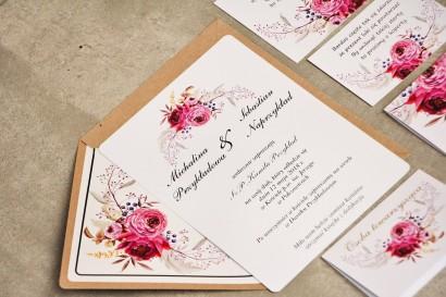 Zaproszenie ślubne, zaproszenia na ślub kwiatowe ze złoceniem - Sorento nr 3 - Amarantowe kwiaty