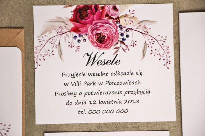 Bilecik do zaproszenia 120 x 98 mm prezenty ślubne wesele - Amarantowe kwiaty - Sorento nr 3 - ze zloceniem