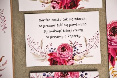 Bilecik do zaproszenia 105 x 74 mm prezenty ślubne wesele - Sorento nr 3 - Amarantowe kwiaty - ze złoceniem