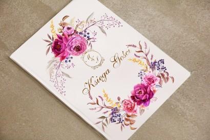 księga Gości - dodatki ślubne, weselne - Sorento nr 3 - Amarantowe kwiaty - ze złoceniem