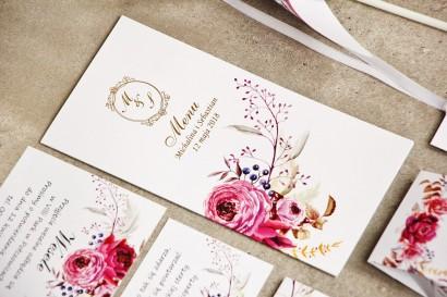 Menu weselne, stół weselny - Sorento nr 3 - Amarantowe kwiaty - dodatki ślubne ze złoceniem