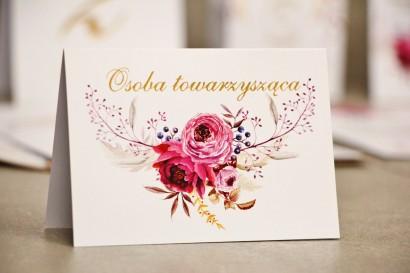 Winietki na stół weselny, ślub - Sorento nr 3 - Amarantowe kwiaty - kwiatowe dodatki ślubne ze złoceniem