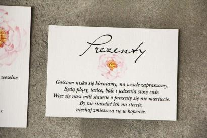 Bilecik do zaproszenia 105 x 74 mm prezenty ślubne wesele - Pistacjowe nr 4 - Delikatna pudrowa piwonia